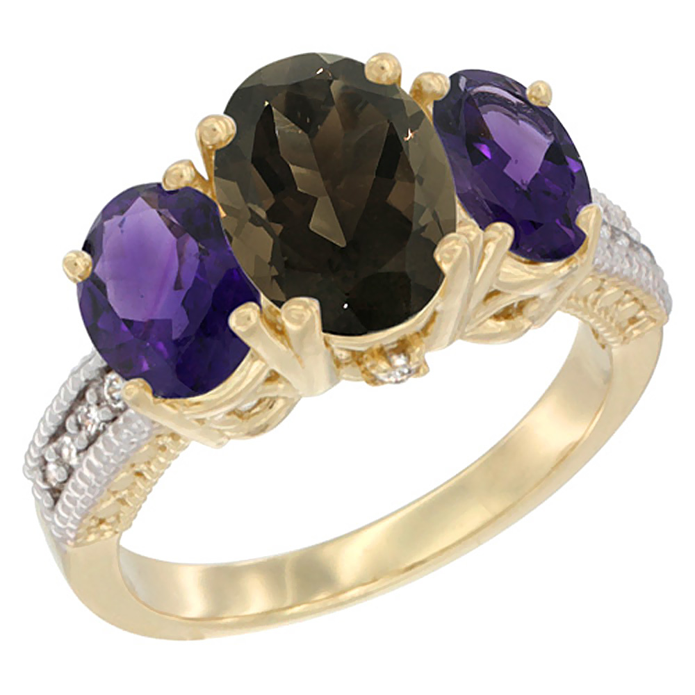 10K Yellow Gold Natural Smoky Topaz Ring Ladies 3-Stone 8x6 Oval with Amethyst Sides Diamond Accent, sizes 5 - 10