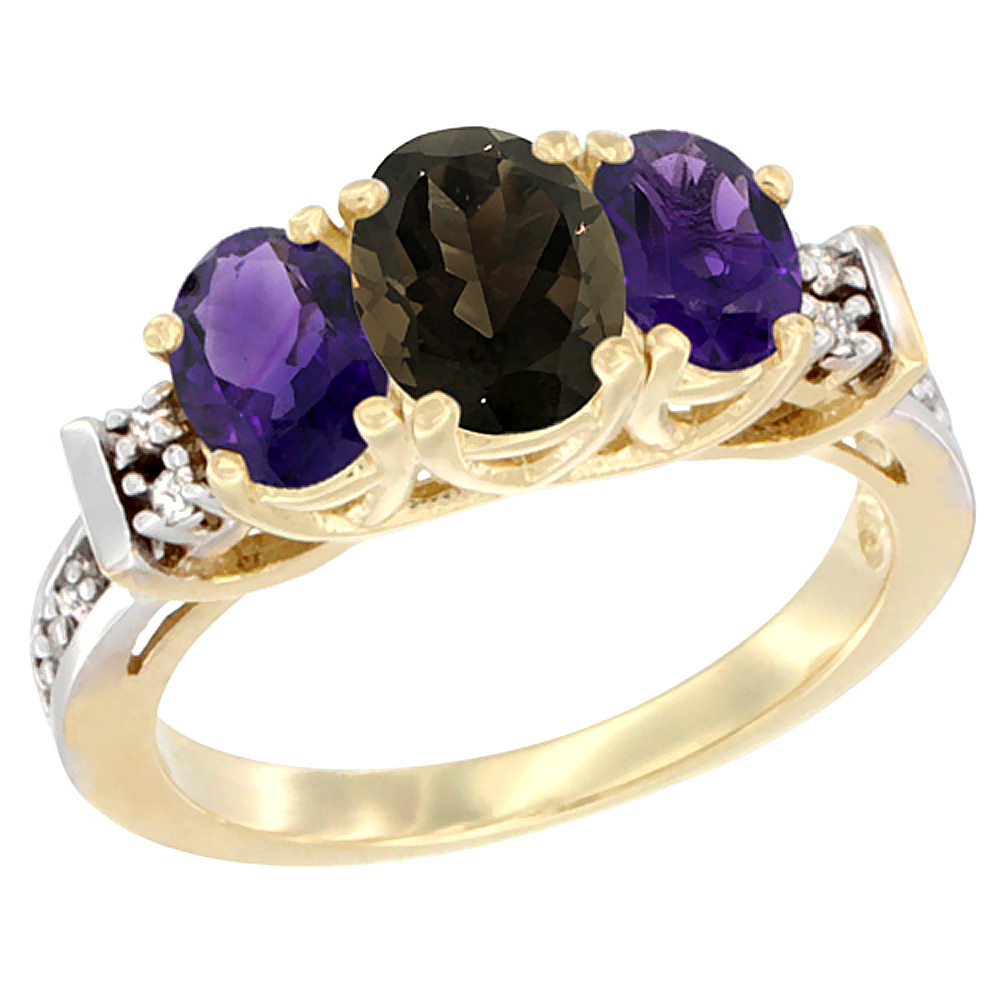 14K Yellow Gold Natural Smoky Topaz & Amethyst Ring 3-Stone Oval Diamond Accent