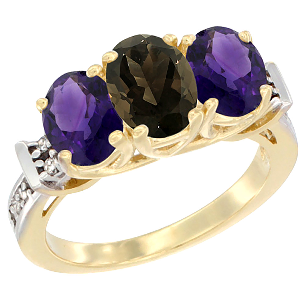 14K Yellow Gold Natural Smoky Topaz & Amethyst Sides Ring 3-Stone Oval Diamond Accent, sizes 5 - 10