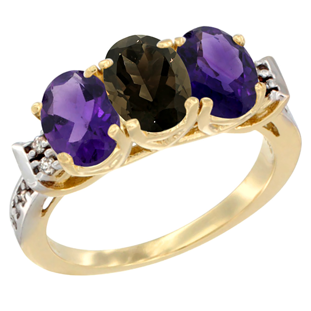 14K Yellow Gold Natural Smoky Topaz & Amethyst Sides Ring 3-Stone 7x5 mm Oval Diamond Accent, sizes 5 - 10