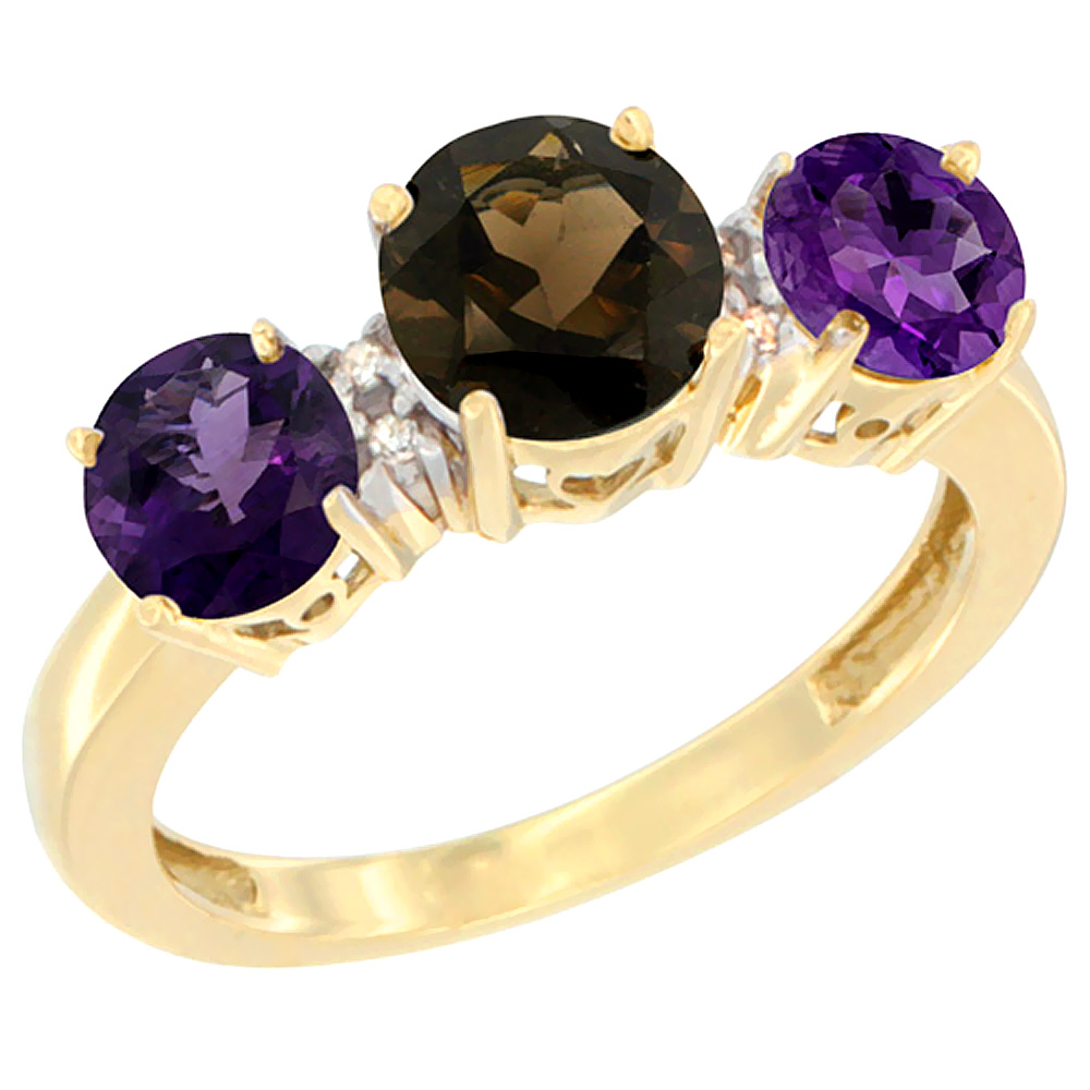 14K Yellow Gold Round 3-Stone Natural Smoky Topaz Ring & Amethyst Sides Diamond Accent, sizes 5 - 10