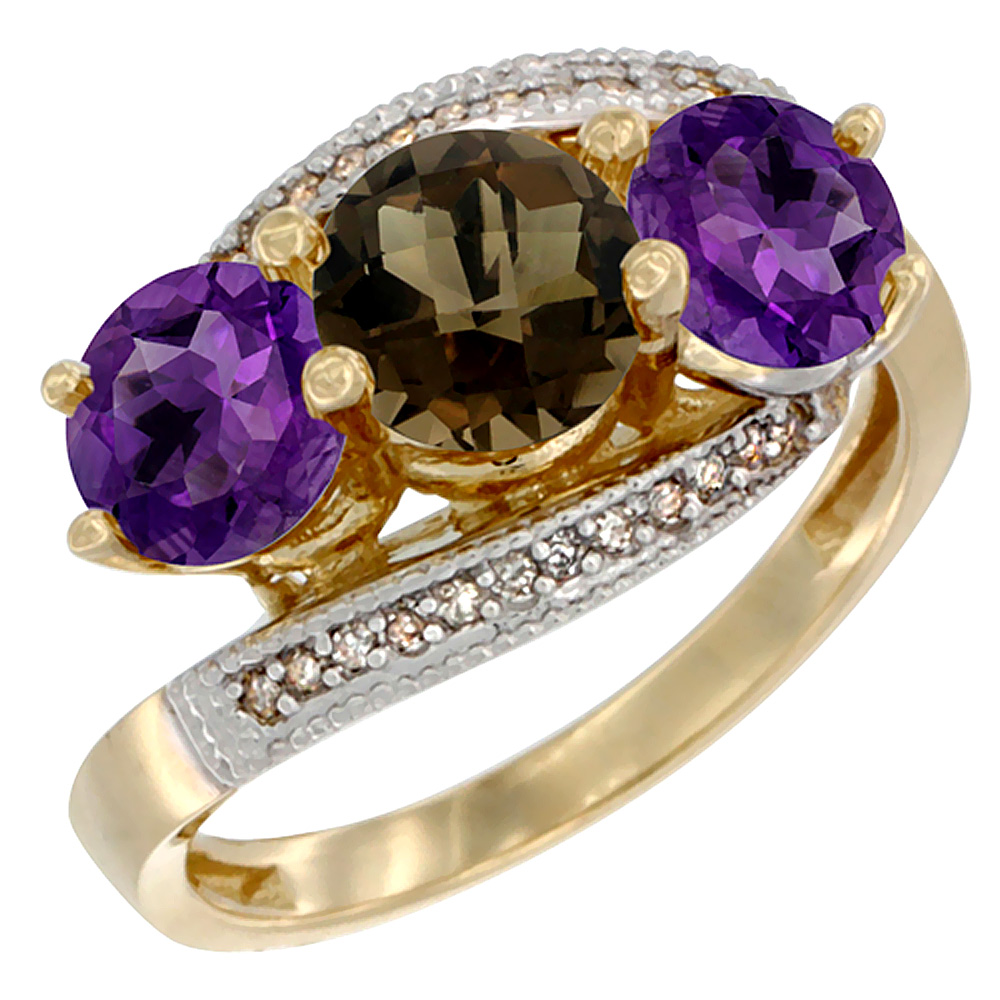 10K Yellow Gold Natural Smoky Topaz & Amethyst Sides 3 stone Ring Round 6mm Diamond Accent, sizes 5 - 10