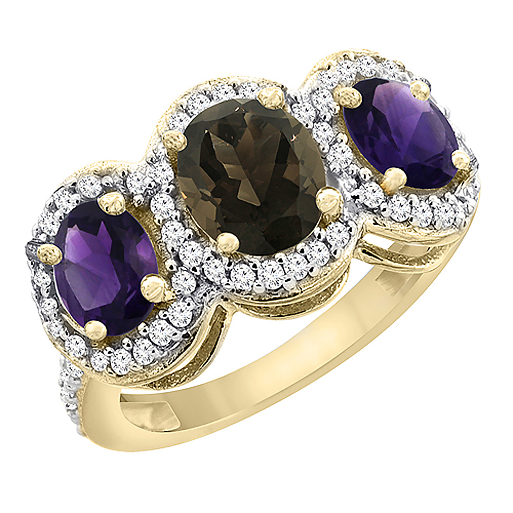 14K Yellow Gold Natural Smoky Topaz & Amethyst 3-Stone Ring Oval Diamond Accent, sizes 5 - 10