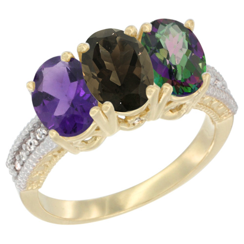 10K Yellow Gold Diamond Natural Amethyst, Smoky Topaz & Mystic Topaz Ring Oval 3-Stone 7x5 mm,sizes 5-10