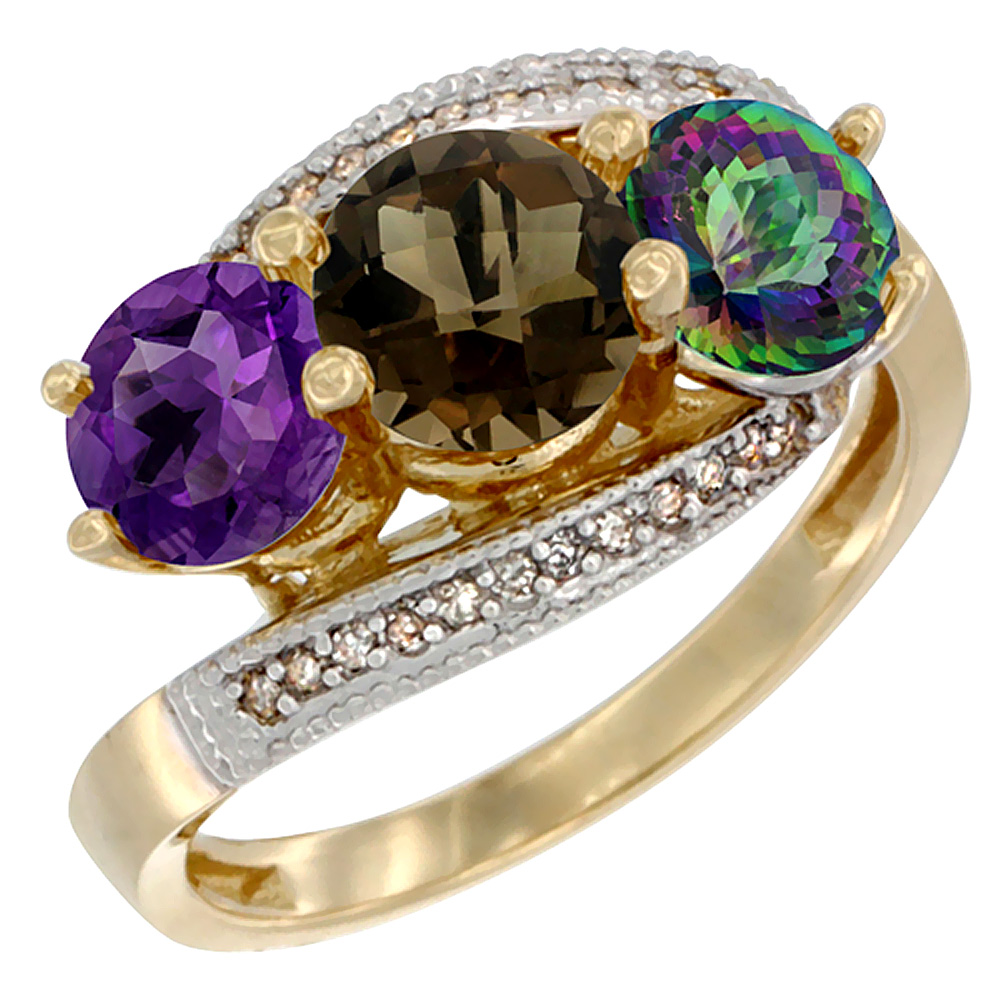 10K Yellow Gold Natural Amethyst, Smoky & Mystic Topaz 3 stone Ring Round 6mm Diamond Accent, sizes 5 - 10
