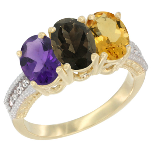 10K Yellow Gold Diamond Natural Amethyst, Smoky Topaz & Citrine Ring Oval 3-Stone 7x5 mm,sizes 5-10