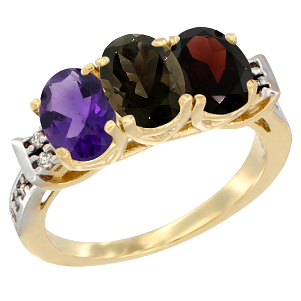 14K Yellow Gold Natural Amethyst, Smoky Topaz & Garnet Ring 3-Stone 7x5 mm Oval Diamond Accent, sizes 5 - 10