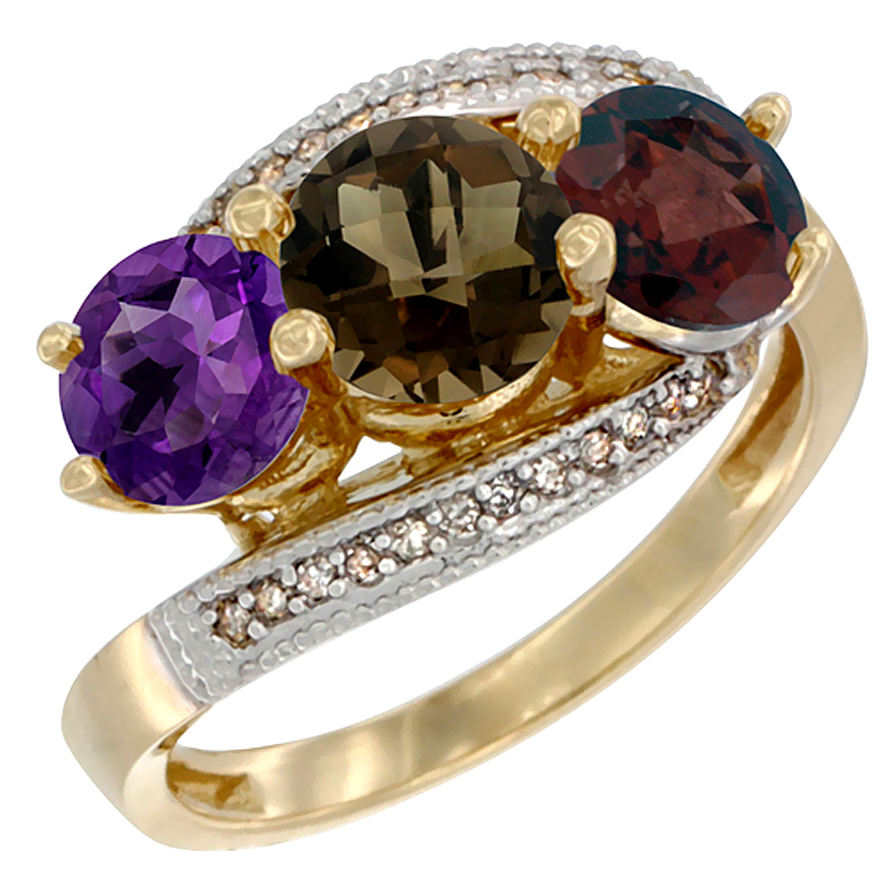 14K Yellow Gold Natural Amethyst, Smoky Topaz & Garnet 3 stone Ring Round 6mm Diamond Accent, sizes 5 - 10