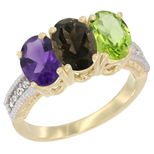 14K Yellow Gold Natural Amethyst, Smoky Topaz & Peridot Ring 3-Stone 7x5 mm Oval Diamond Accent, sizes 5 - 10