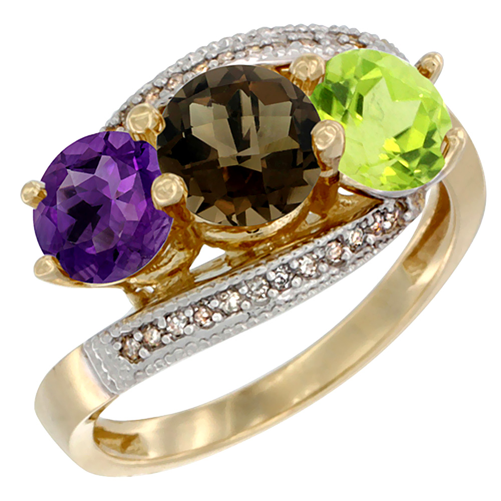 14K Yellow Gold Natural Amethyst, Smoky Topaz & Peridot 3 stone Ring Round 6mm Diamond Accent, sizes 5 - 10