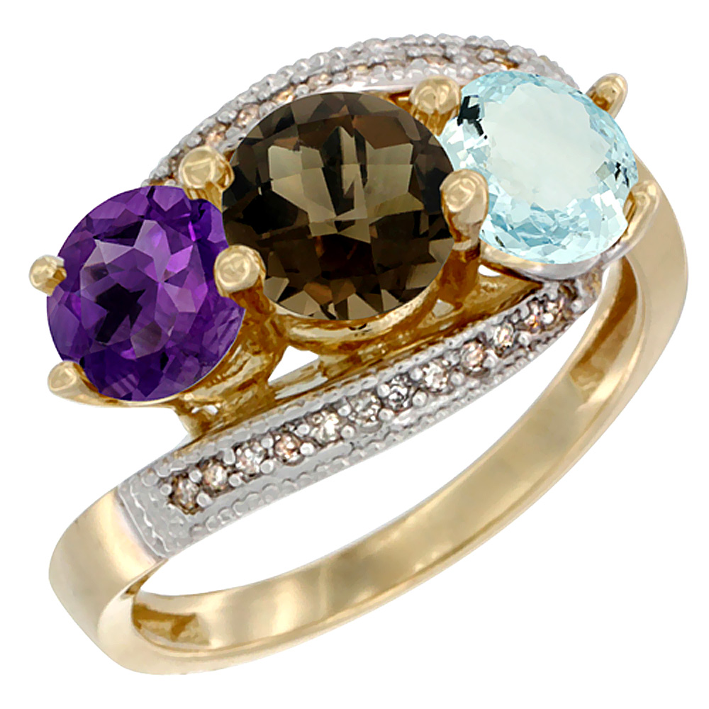 10K Yellow Gold Natural Amethyst, Smoky Topaz & Aquamarine 3 stone Ring Round 6mm Diamond Accent, sizes 5 - 10