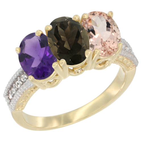 10K Yellow Gold Diamond Natural Amethyst, Smoky Topaz & Morganite Ring Oval 3-Stone 7x5 mm,sizes 5-10