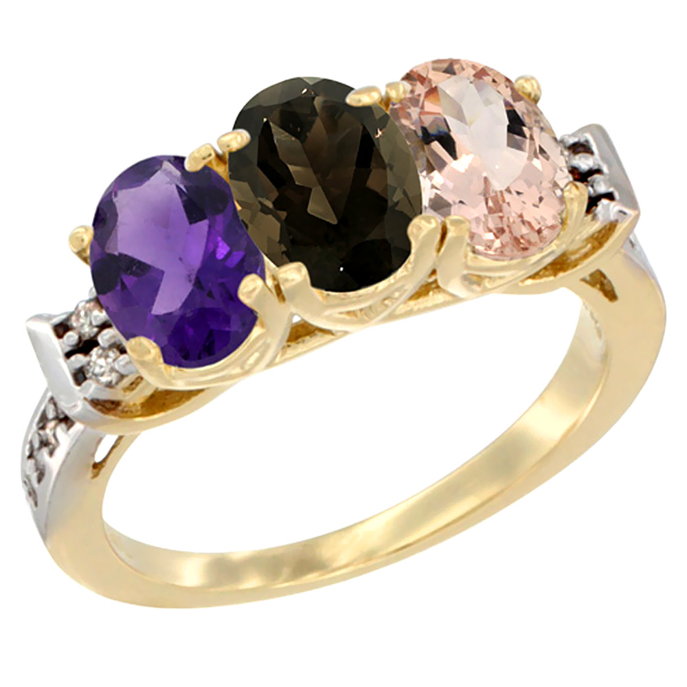 10K Yellow Gold Natural Amethyst, Smoky Topaz & Morganite Ring 3-Stone Oval 7x5 mm Diamond Accent, sizes 5 - 10