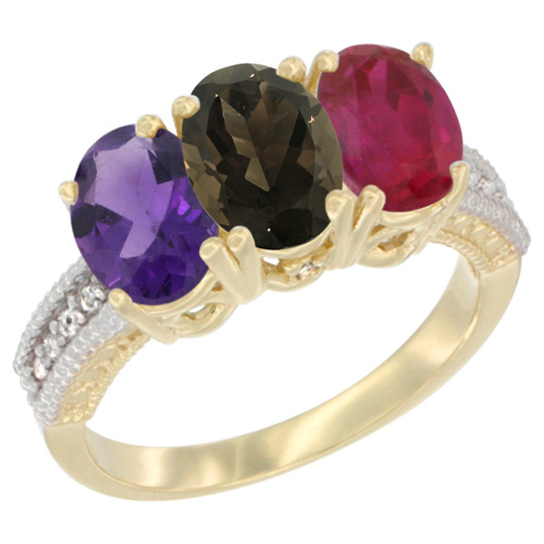 10K Yellow Gold Diamond Natural Amethyst, Smoky Topaz & Enhanced Ruby Ring Oval 3-Stone 7x5 mm,sizes 5-10