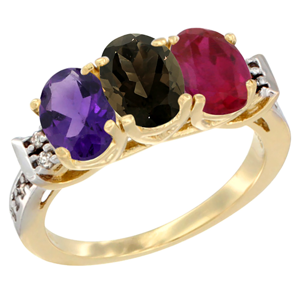 10K Yellow Gold Natural Amethyst, Smoky Topaz & Enhanced Ruby Ring 3-Stone Oval 7x5 mm Diamond Accent, sizes 5 - 10