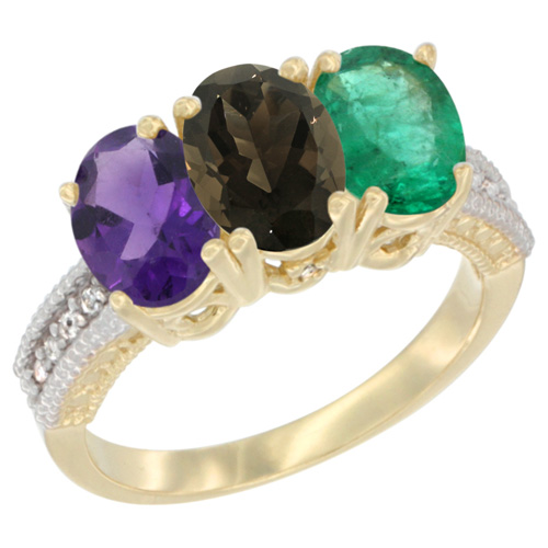 10K Yellow Gold Diamond Natural Amethyst, Smoky Topaz & Emerald Ring Oval 3-Stone 7x5 mm,sizes 5-10