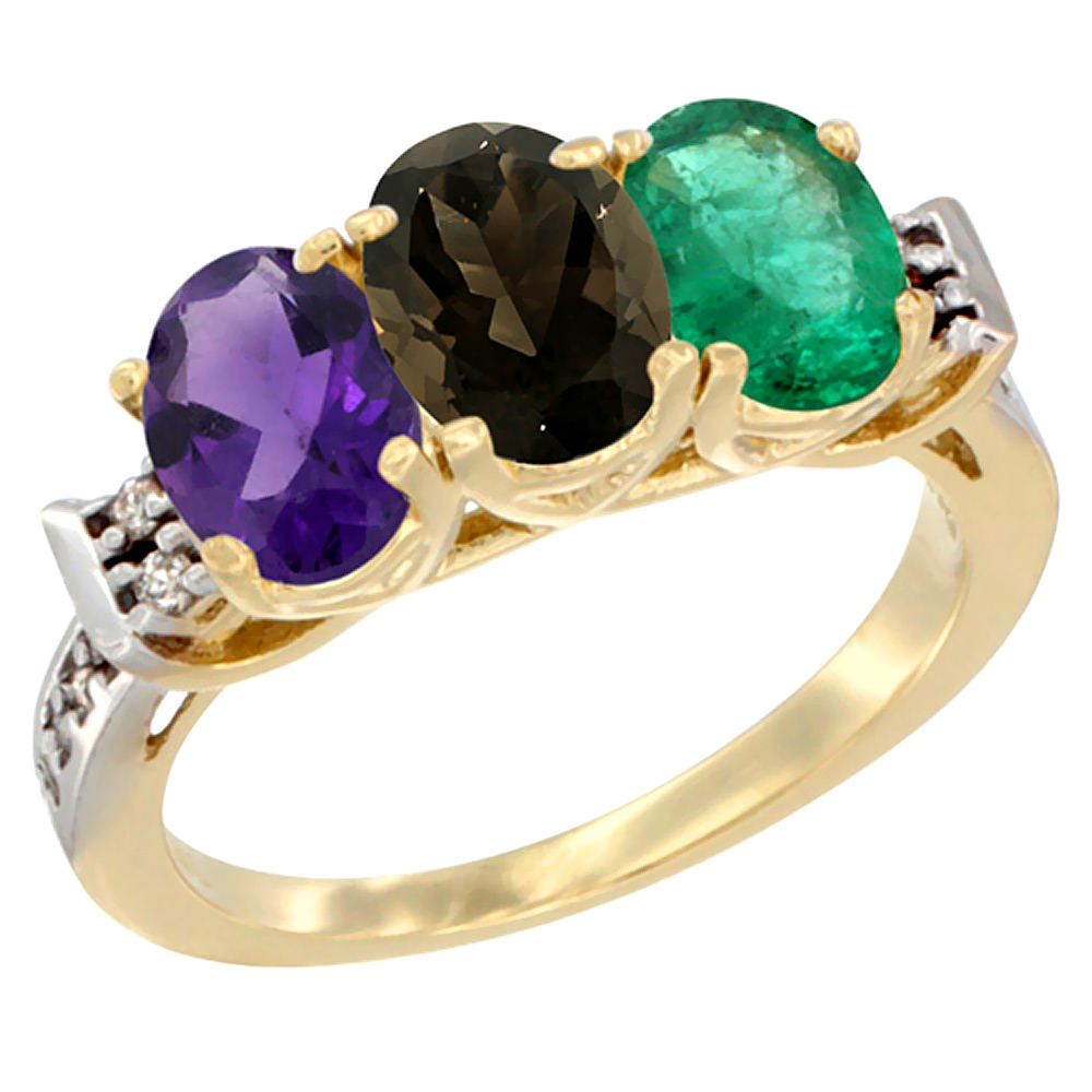 10K Yellow Gold Natural Amethyst, Smoky Topaz & Emerald Ring 3-Stone Oval 7x5 mm Diamond Accent, sizes 5 - 10