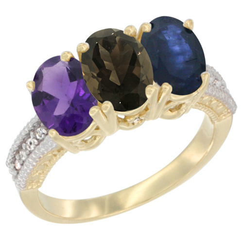 10K Yellow Gold Diamond Natural Amethyst, Smoky Topaz & Blue Sapphire Ring Oval 3-Stone 7x5 mm,sizes 5-10