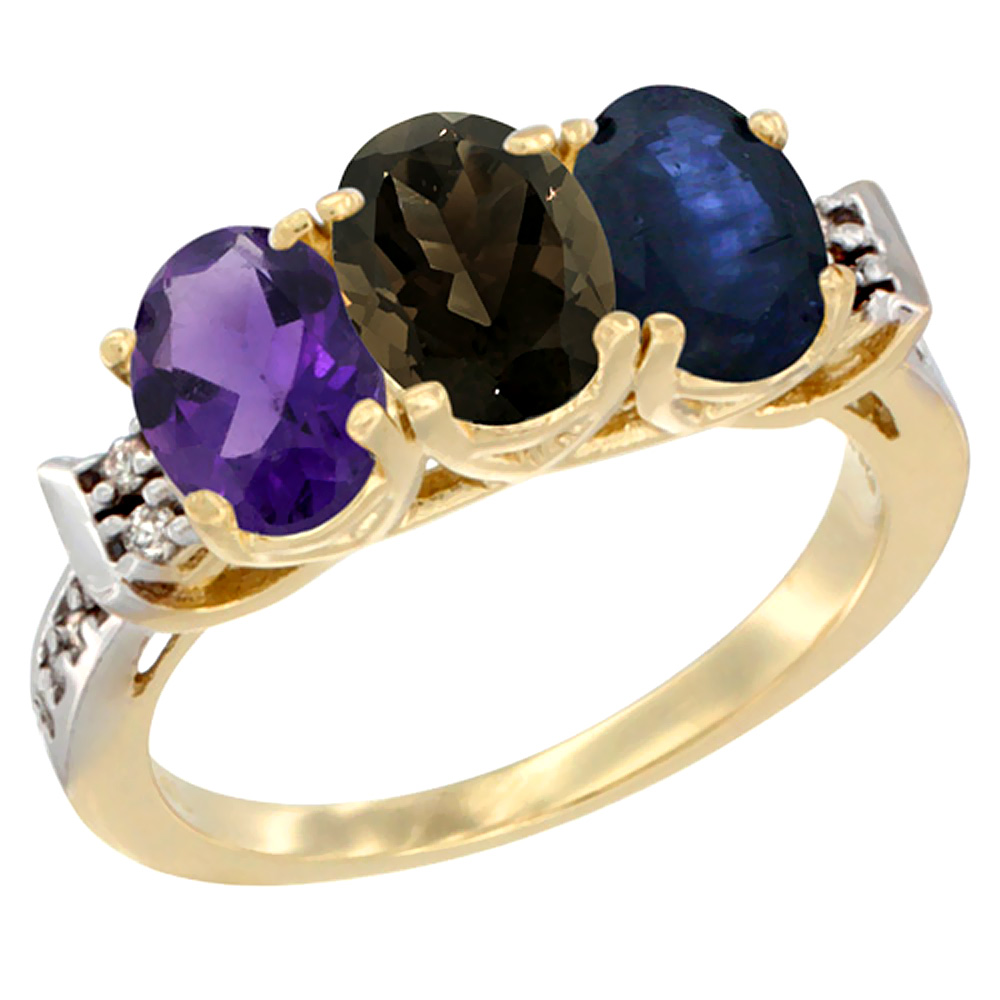 10K Yellow Gold Natural Amethyst, Smoky Topaz & Blue Sapphire Ring 3-Stone Oval 7x5 mm Diamond Accent, sizes 5 - 10