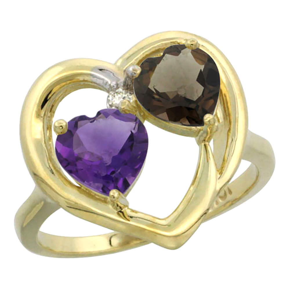 14K Yellow Gold Diamond Two-stone Heart Ring 6mm Natural Amethyst & Smoky Topaz, sizes 5-10