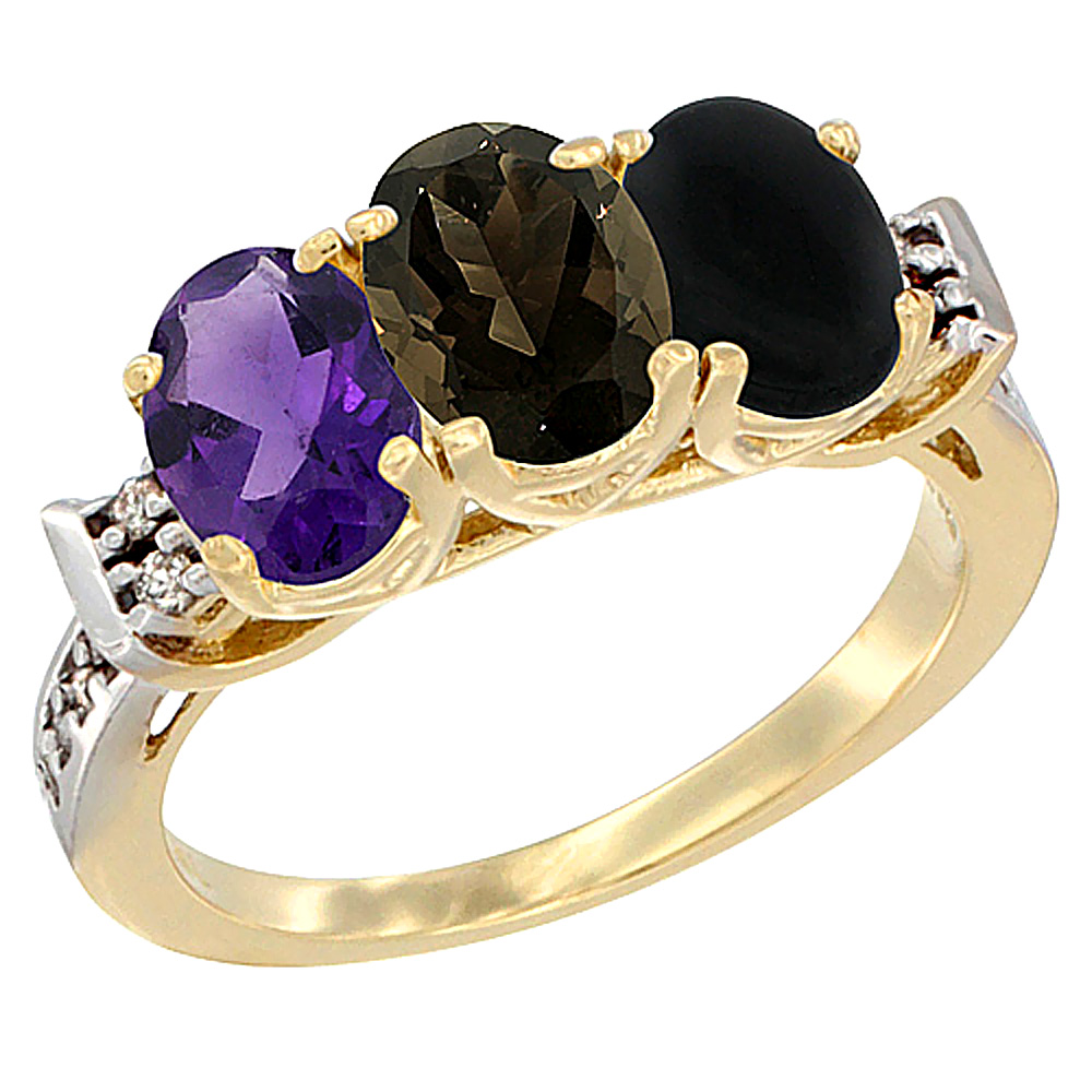 10K Yellow Gold Natural Amethyst, Smoky Topaz & Black Onyx Ring 3-Stone Oval 7x5 mm Diamond Accent, sizes 5 - 10
