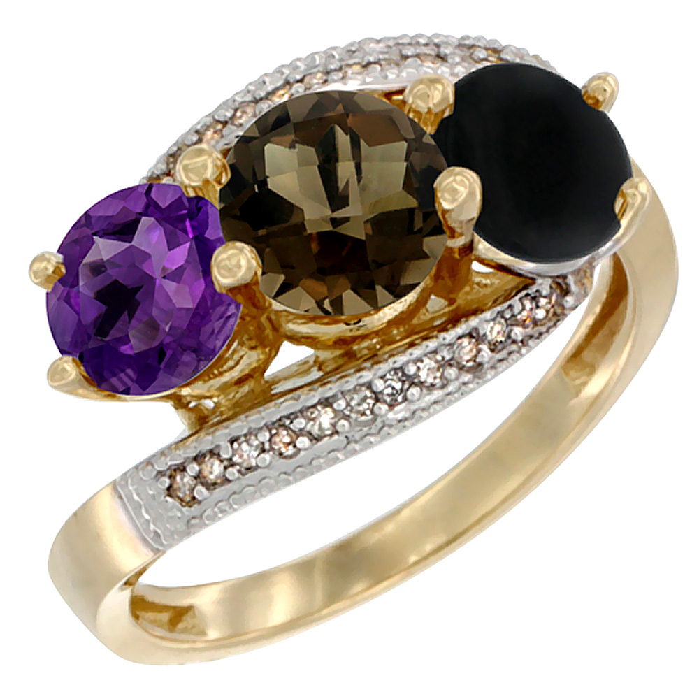 10K Yellow Gold Natural Amethyst, Smoky Topaz & Black Onyx 3 stone Ring Round 6mm Diamond Accent, sizes 5 - 10