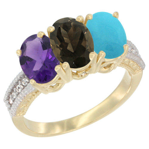 10K Yellow Gold Diamond Natural Amethyst, Smoky Topaz & Turquoise Ring Oval 3-Stone 7x5 mm,sizes 5-10