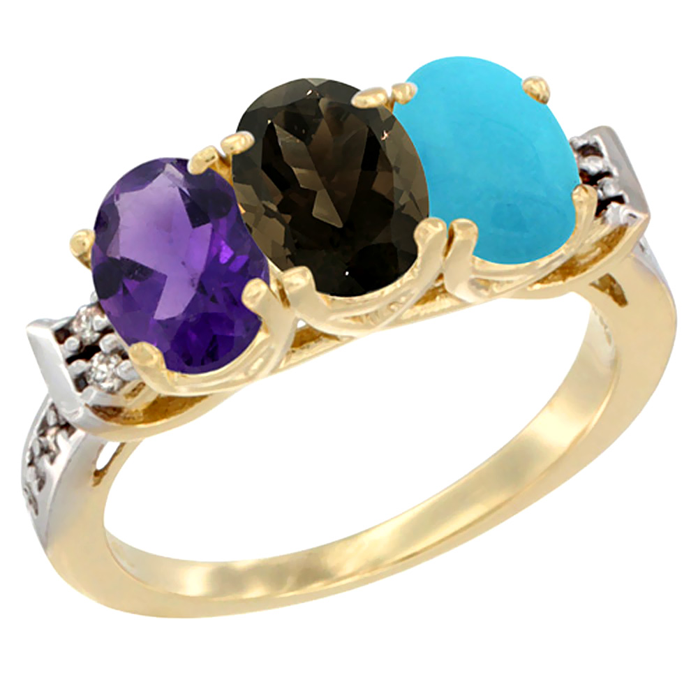 10K Yellow Gold Natural Amethyst, Smoky Topaz & Turquoise Ring 3-Stone Oval 7x5 mm Diamond Accent, sizes 5 - 10