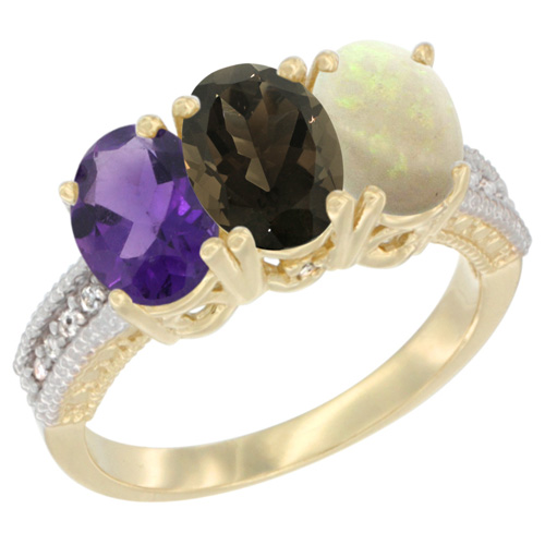 10K Yellow Gold Diamond Natural Amethyst, Smoky Topaz & Opal Ring Oval 3-Stone 7x5 mm,sizes 5-10