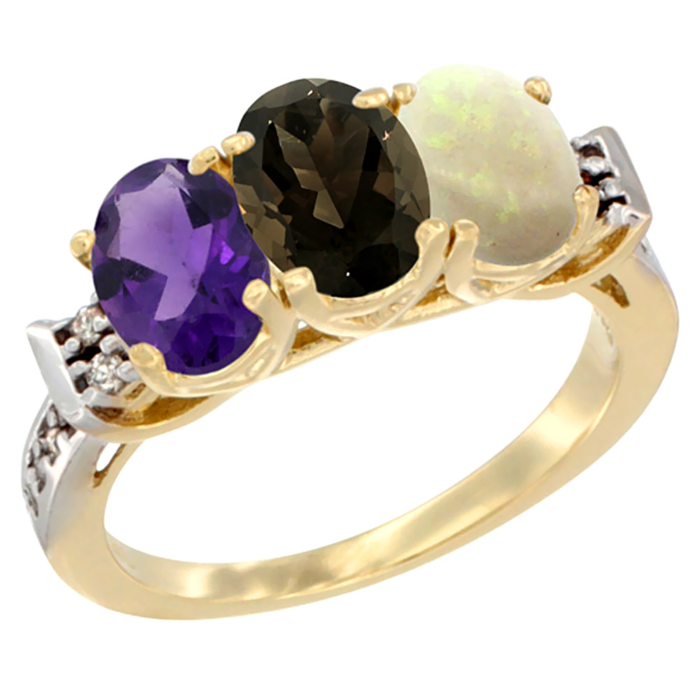 10K Yellow Gold Natural Amethyst, Smoky Topaz & Opal Ring 3-Stone Oval 7x5 mm Diamond Accent, sizes 5 - 10