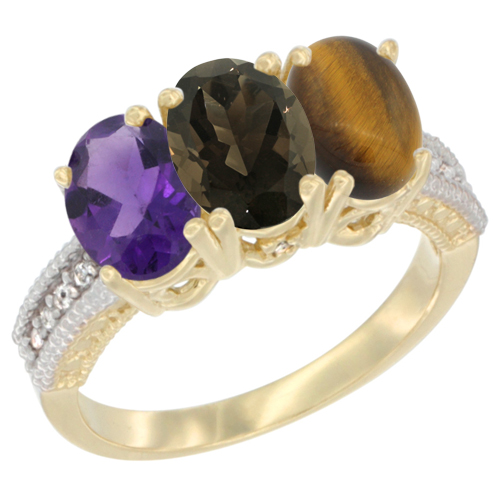 10K Yellow Gold Diamond Natural Amethyst, Smoky Topaz & Tiger Eye Ring Oval 3-Stone 7x5 mm,sizes 5-10