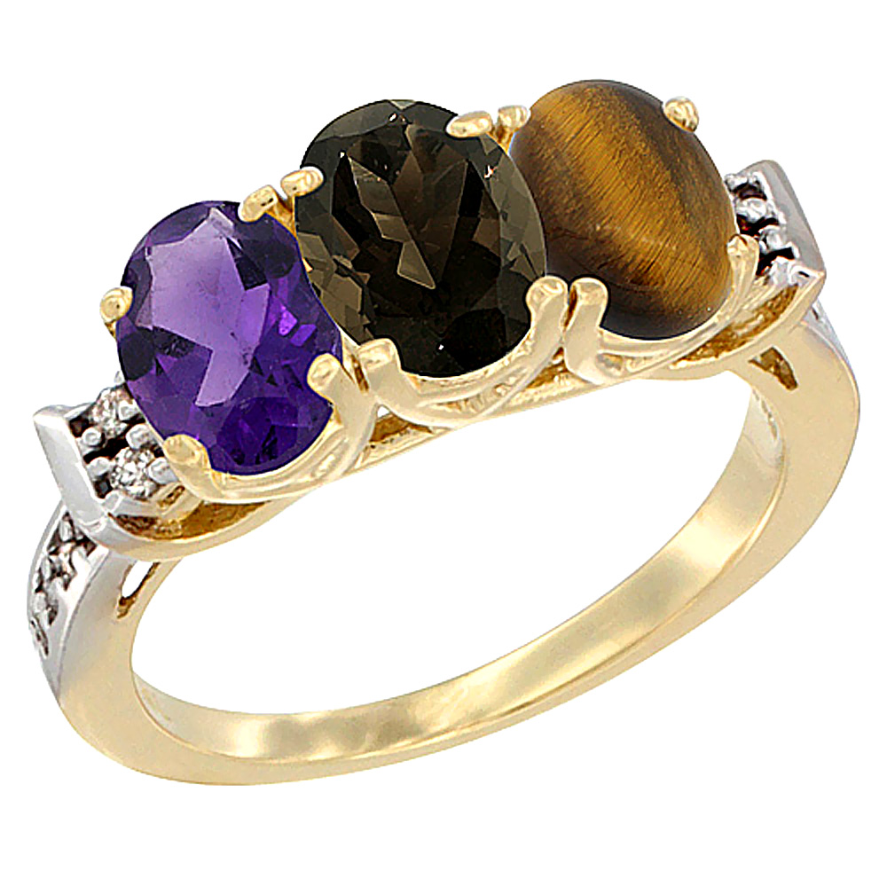 10K Yellow Gold Natural Amethyst, Smoky Topaz & Tiger Eye Ring 3-Stone Oval 7x5 mm Diamond Accent, sizes 5 - 10