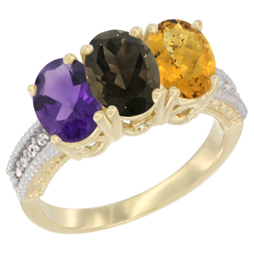 10K Yellow Gold Diamond Natural Amethyst, Smoky Topaz & Whisky Quartz Ring Oval 3-Stone 7x5 mm,sizes 5-10