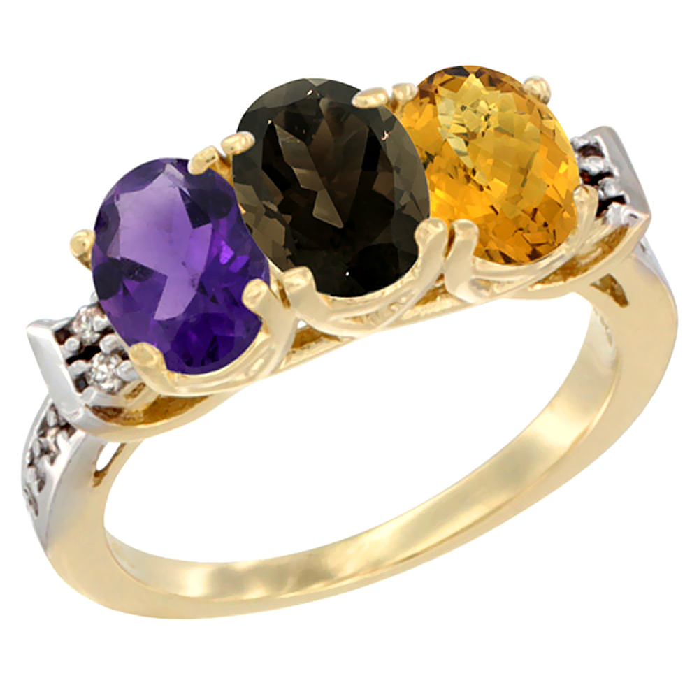 10K Yellow Gold Natural Amethyst, Smoky Topaz & Whisky Quartz Ring 3-Stone Oval 7x5 mm Diamond Accent, sizes 5 - 10