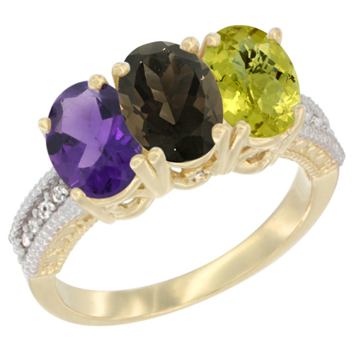 10K Yellow Gold Diamond Natural Amethyst, Smoky Topaz & Lemon Quartz Ring Oval 3-Stone 7x5 mm,sizes 5-10