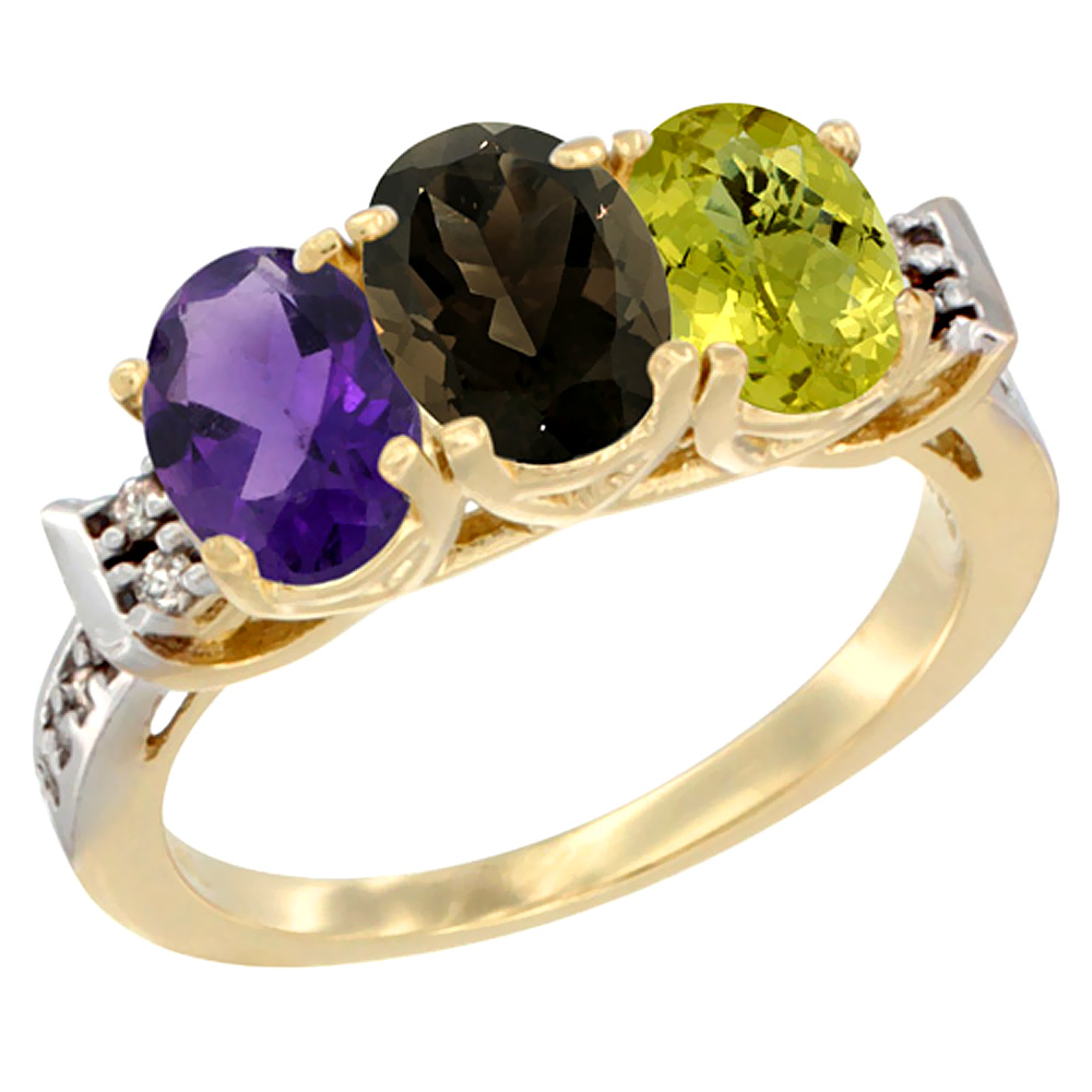 10K Yellow Gold Natural Amethyst, Smoky Topaz & Lemon Quartz Ring 3-Stone Oval 7x5 mm Diamond Accent, sizes 5 - 10