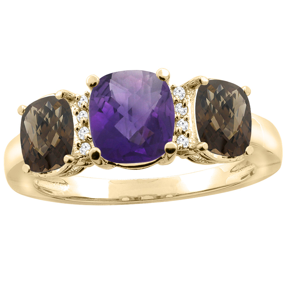 10K Yellow Gold Natural Amethyst & Smoky Topaz 3-stone Ring Cushion 8x6mm Diamond Accent, sizes 5 - 10