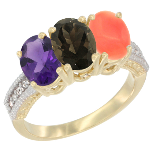 10K Yellow Gold Diamond Natural Amethyst, Smoky Topaz & Coral Ring Oval 3-Stone 7x5 mm,sizes 5-10