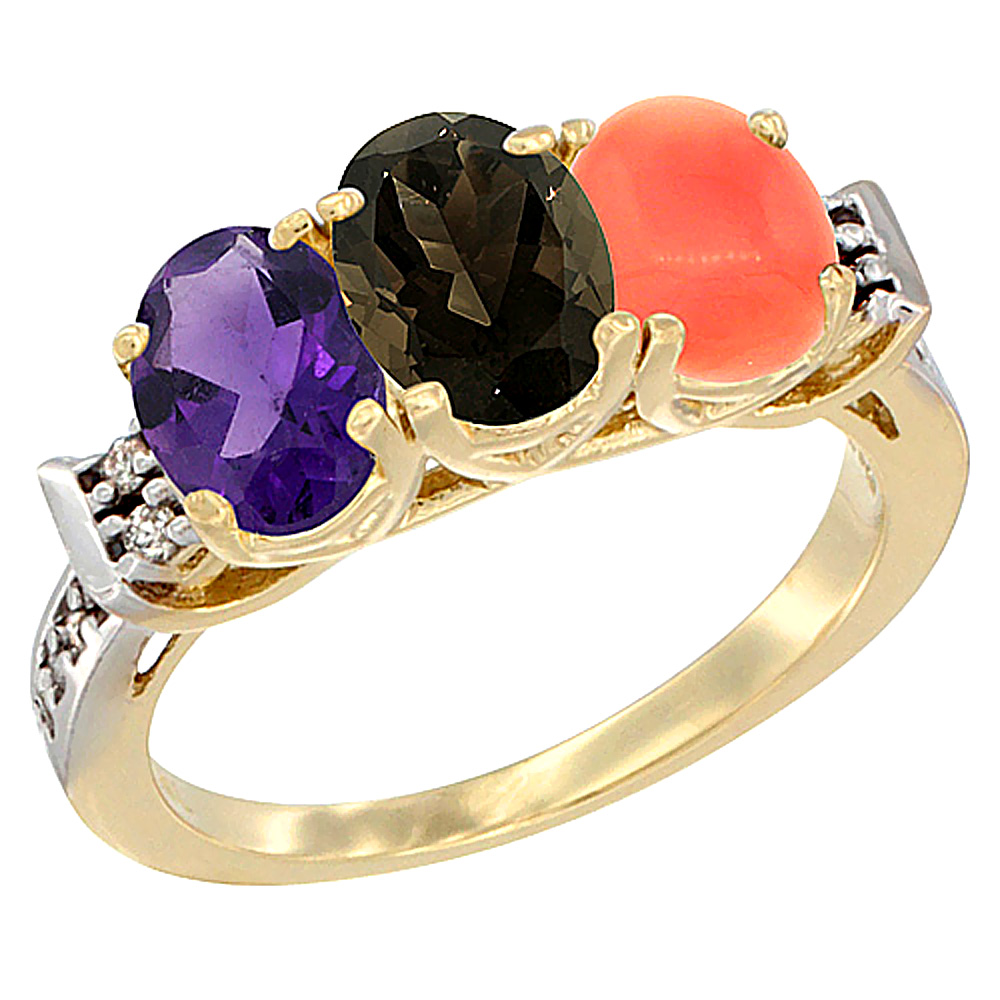 10K Yellow Gold Natural Amethyst, Smoky Topaz & Coral Ring 3-Stone Oval 7x5 mm Diamond Accent, sizes 5 - 10