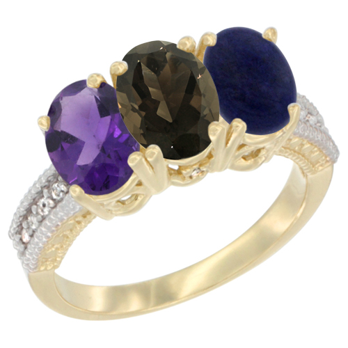 10K Yellow Gold Diamond Natural Amethyst, Smoky Topaz & Lapis Ring Oval 3-Stone 7x5 mm,sizes 5-10