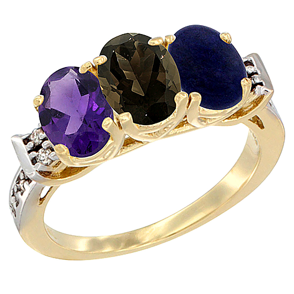 10K Yellow Gold Natural Amethyst, Smoky Topaz & Lapis Ring 3-Stone Oval 7x5 mm Diamond Accent, sizes 5 - 10