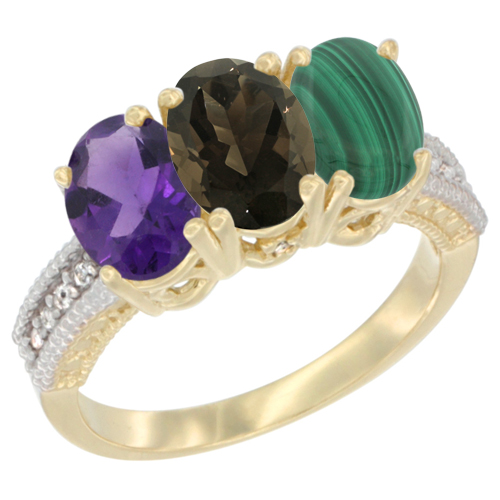 10K Yellow Gold Diamond Natural Amethyst, Smoky Topaz & Malachite Ring Oval 3-Stone 7x5 mm,sizes 5-10