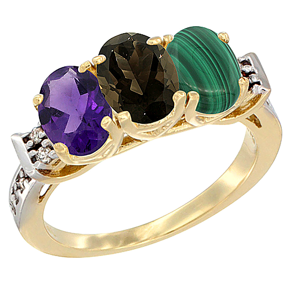 10K Yellow Gold Natural Amethyst, Smoky Topaz & Malachite Ring 3-Stone Oval 7x5 mm Diamond Accent, sizes 5 - 10
