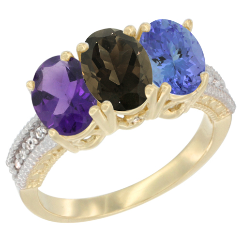 10K Yellow Gold Diamond Natural Amethyst, Smoky Topaz & Tanzanite Ring Oval 3-Stone 7x5 mm,sizes 5-10