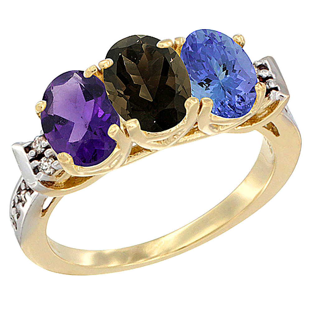 10K Yellow Gold Natural Amethyst, Smoky Topaz & Tanzanite Ring 3-Stone Oval 7x5 mm Diamond Accent, sizes 5 - 10