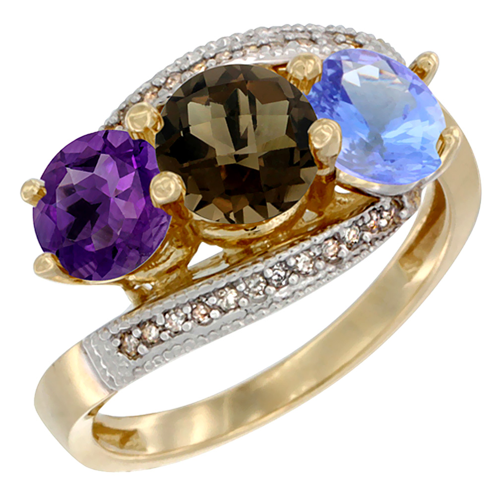10K Yellow Gold Natural Amethyst, Smoky Topaz & Tanzanite 3 stone Ring Round 6mm Diamond Accent, sizes 5 - 10