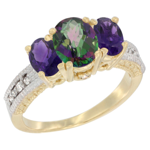 14K Yellow Gold Diamond Natural Mystic Topaz Ring Oval 3-stone with Amethyst, sizes 5 - 10
