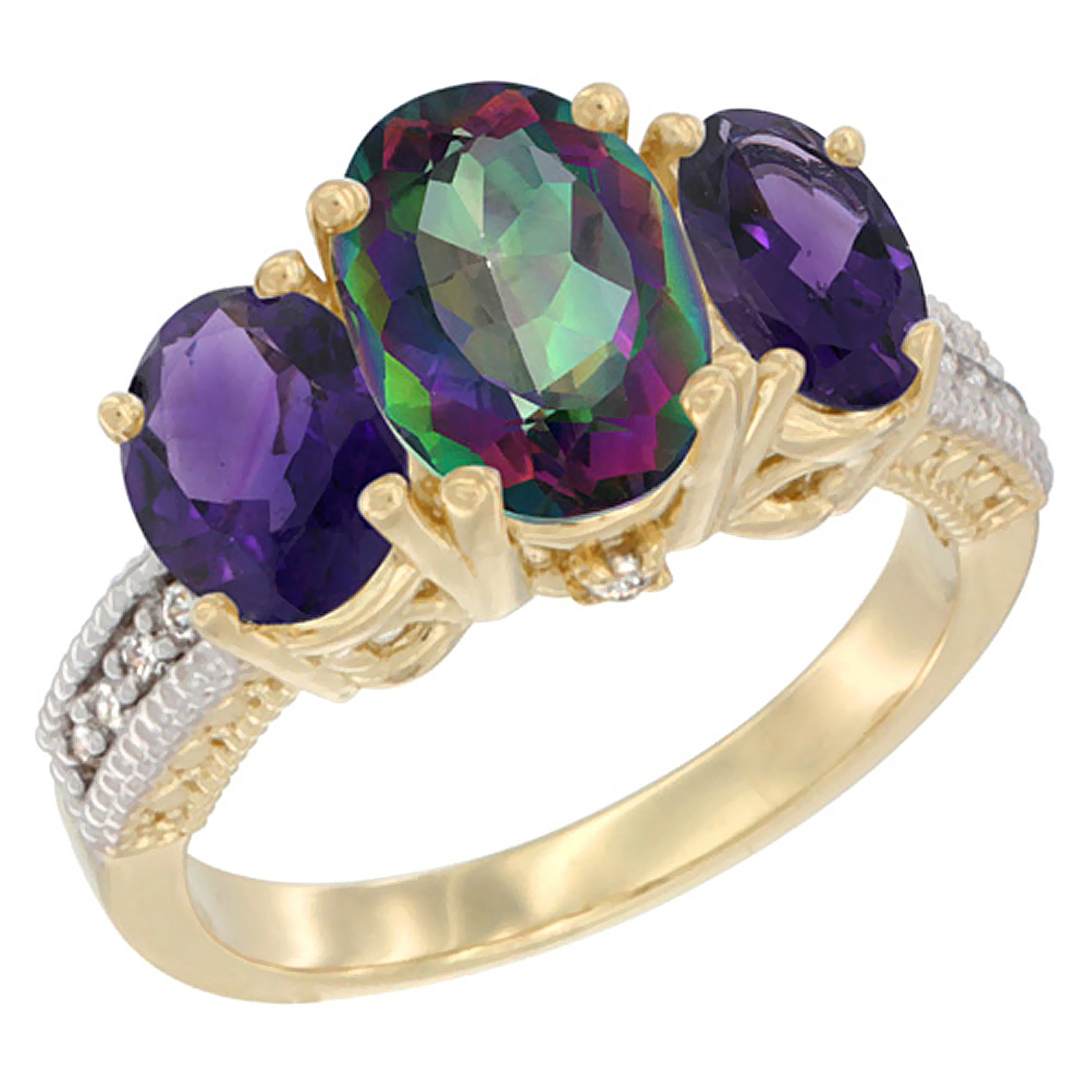 10K Yellow Gold Natural Mystic Topaz Ring Ladies 3-Stone 8x6 Oval with Amethyst Sides Diamond Accent, sizes 5 - 10