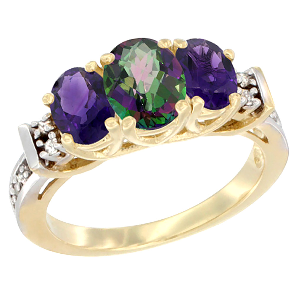 10K Yellow Gold Natural Mystic Topaz & Amethyst Ring 3-Stone Oval Diamond Accent