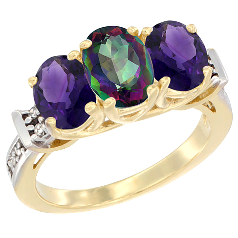10K Yellow Gold Natural Mystic Topaz & Amethyst Sides Ring 3-Stone Oval Diamond Accent, sizes 5 - 10